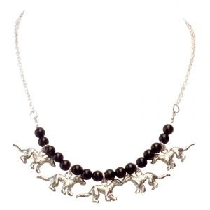 Black onyx ferret bib necklace 969