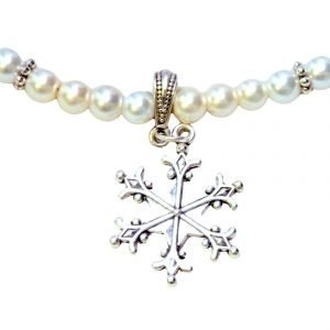 Enamel snowflake necklace 1193