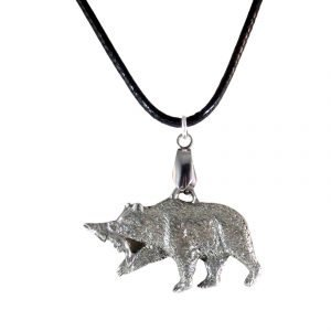 Pewter bear and salmon necklace1686