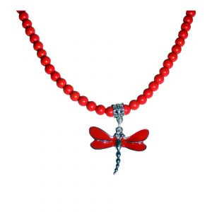 Red Dragonfly and Red Beaded Gemstone Necklace 1639
