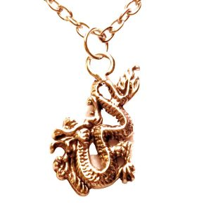 Small Chinese fire breathing dragon or firedrake necklace 715