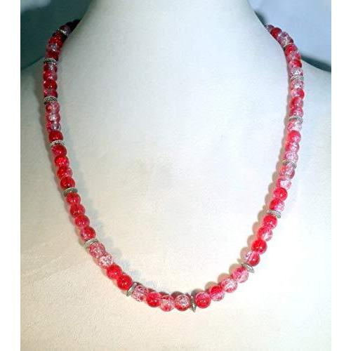 Red Crystalline Glass Beaded Necklace 1640