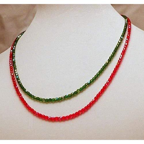 Beaded 2 Strands Bright Green and Red Glass Beads Necklace 728