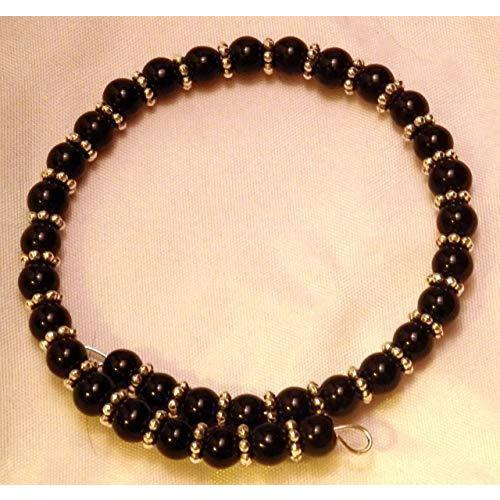 Black Glass and Silvertone Accent Beads Memory Wire Bangle Bracelet 902