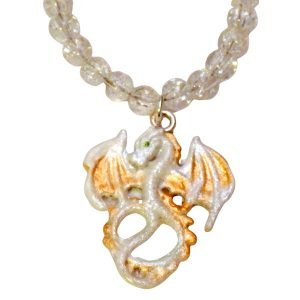 White and gold dragon crackled glass necklace 1373