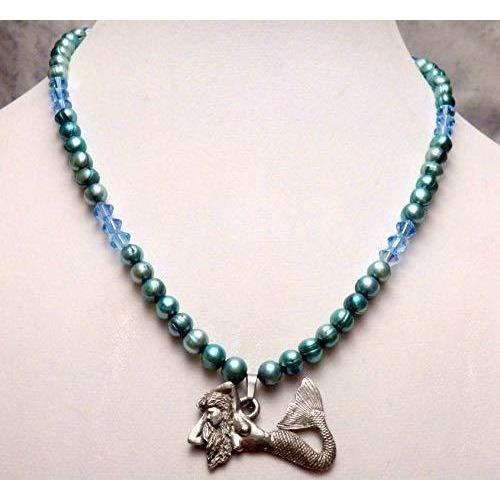 Aqua blue dyed cultured freshwater pearls and Austrian crystals mermaid necklace 968