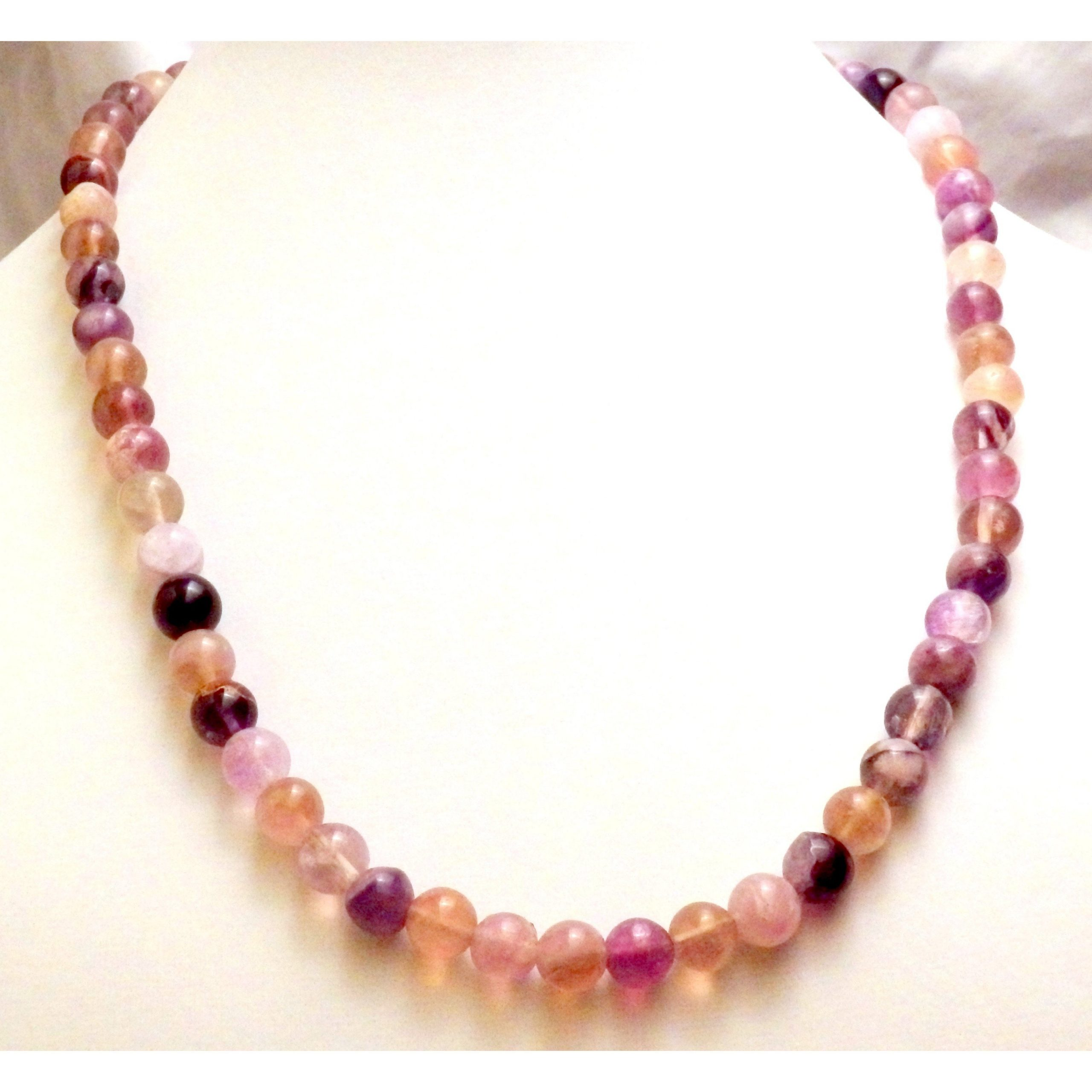 Gemstone Rainbow Fluorite Necklace  1256