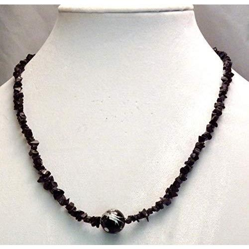 Carved Onyx Dragon Bead on Black Mini Chip Necklace 950