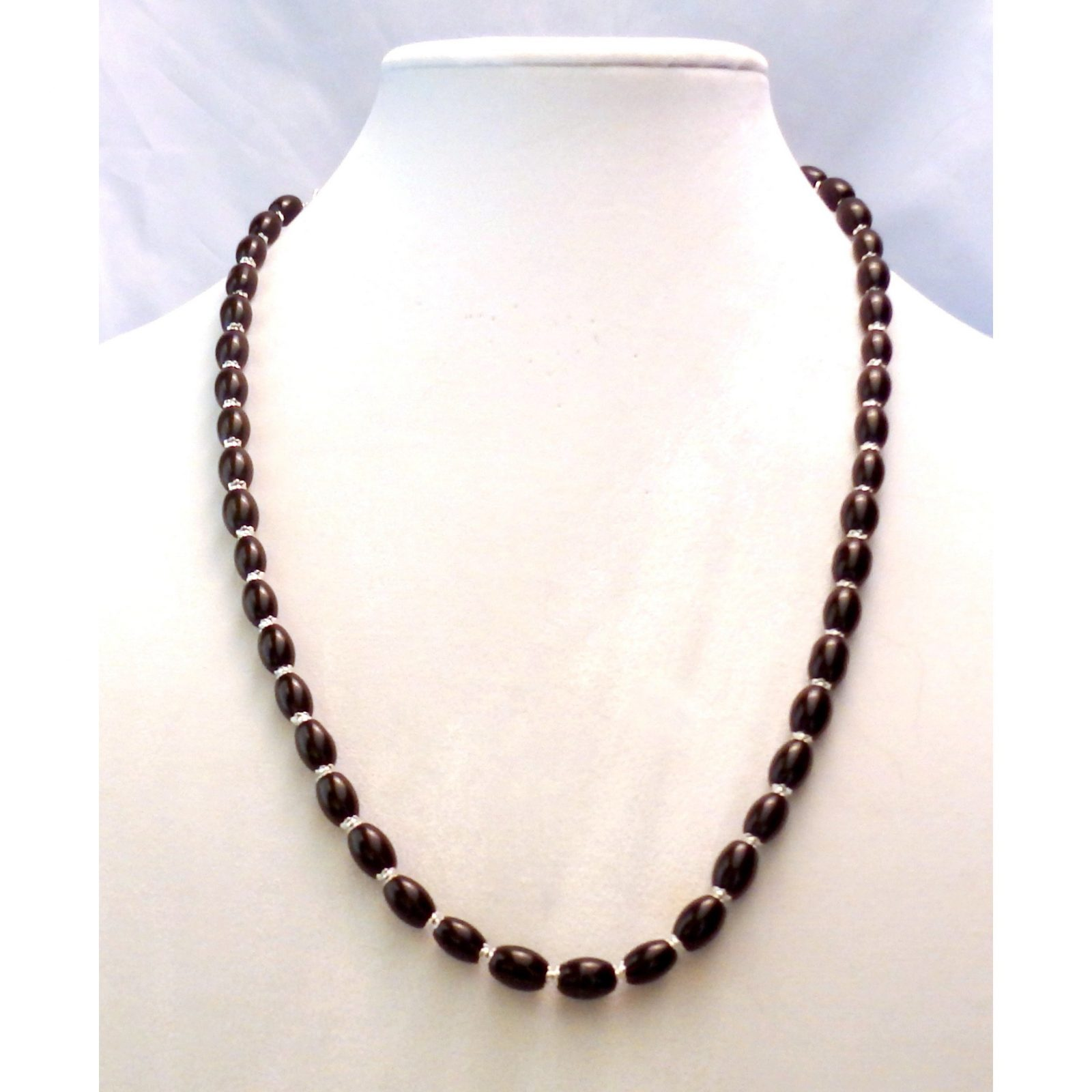 Oval Black Glass Silver Capped Beaded Necklace 996