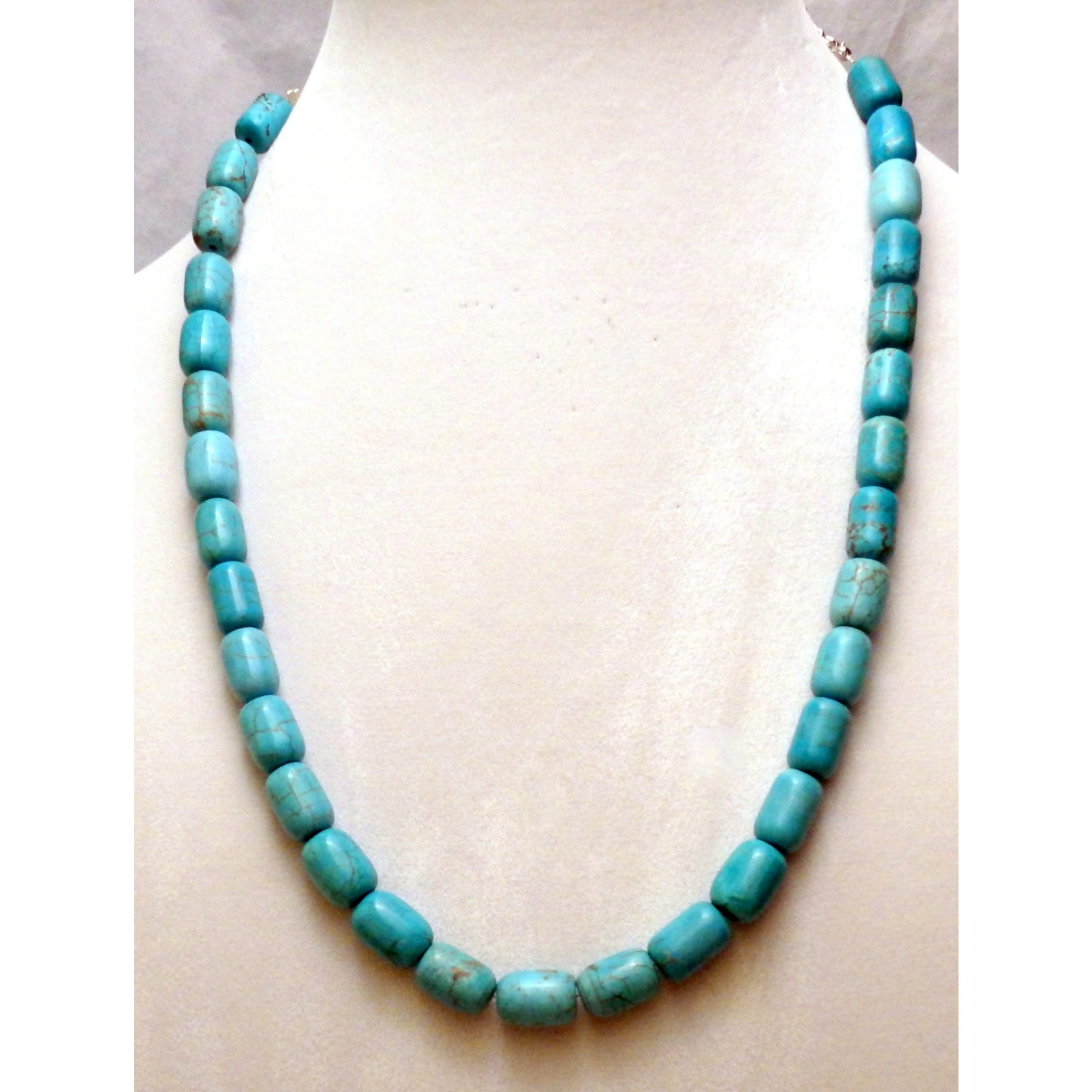 Chunky Faux Turquoise Necklace or Aqua Blue Howlite Necklace 1086