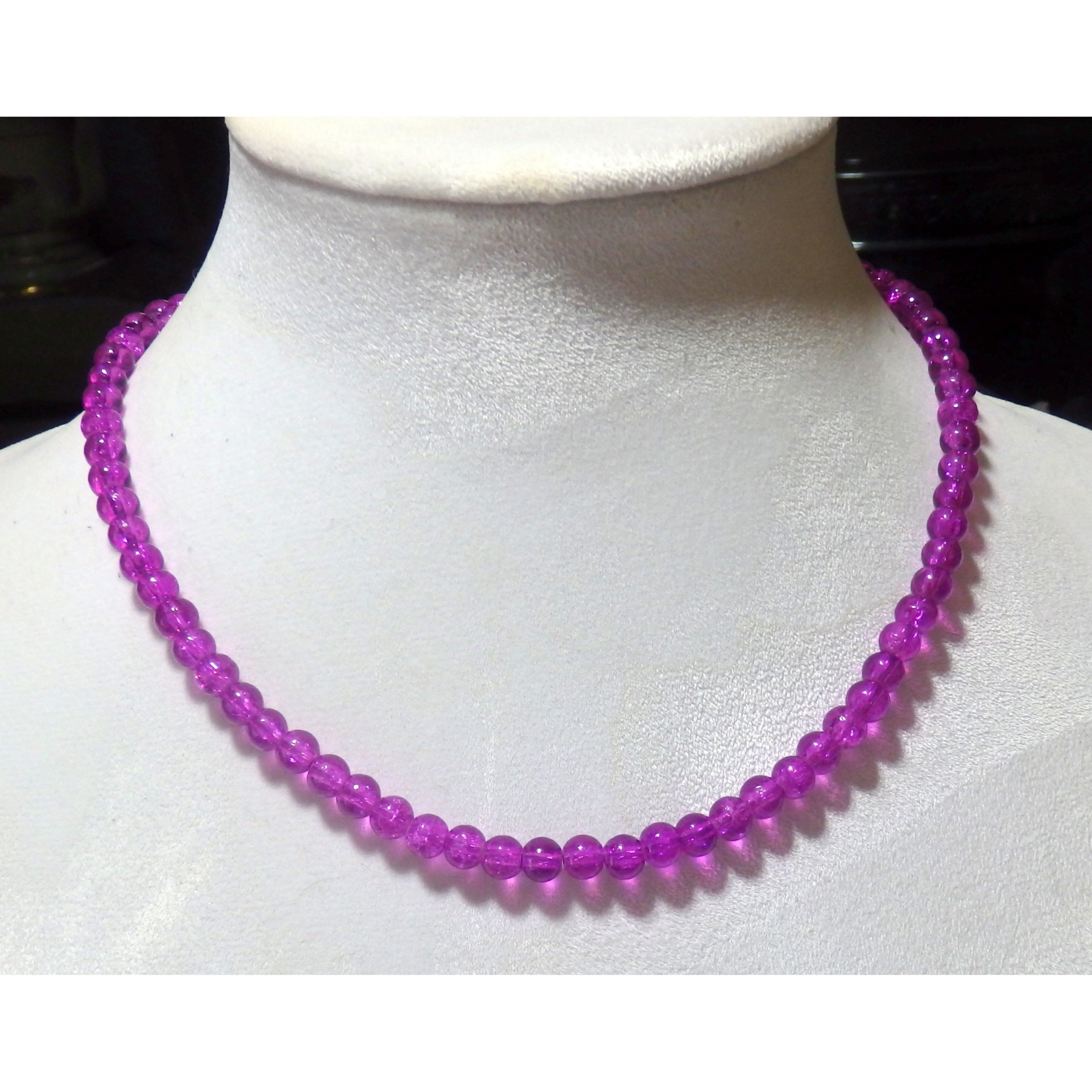 Purple Beaded Crystalline Necklace   1567