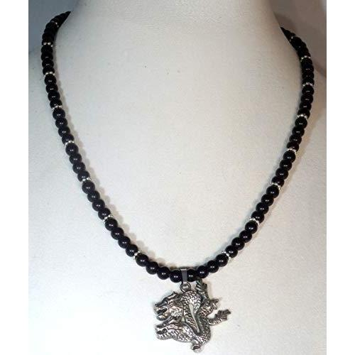 Dragon and Natural Obsidian Beaded Necklace 1229