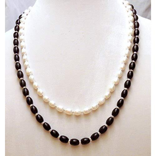 Black and White Oval Glass beaded Jewelry Set 1084