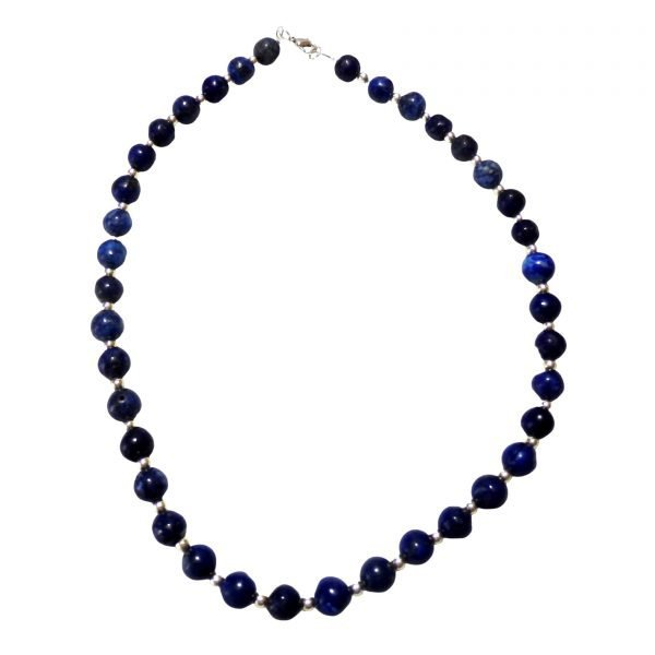 Lapis lazuli and metal beaded necklace 1182
