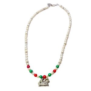 Santa's sleigh and glass beaded necklace 1194