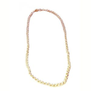 2 in 2 twisted wire silver tone tone necklace 1055-14