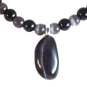 Black Catseye Glass Beaded Necklace and Pendant 1963