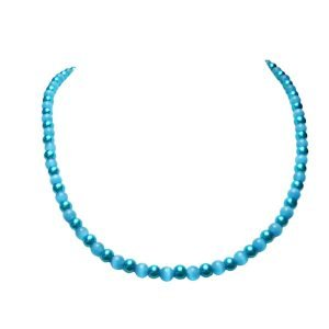 SKY BLUE GLASS BEADS AND BLUE PEARL NECKLACE 1492