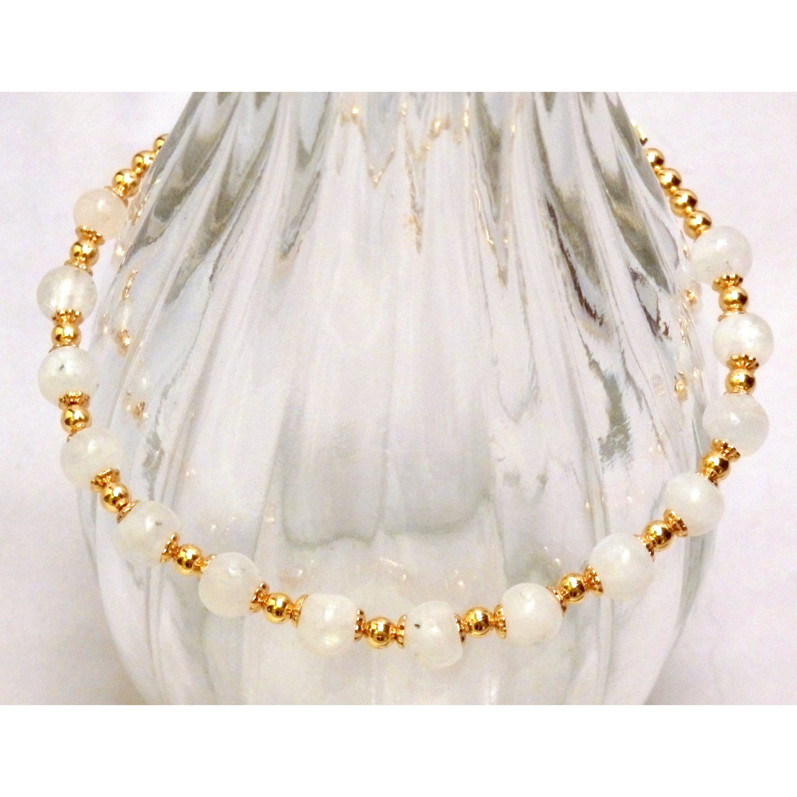 Moonstone and Goldtone Beaded Bracelet 1203