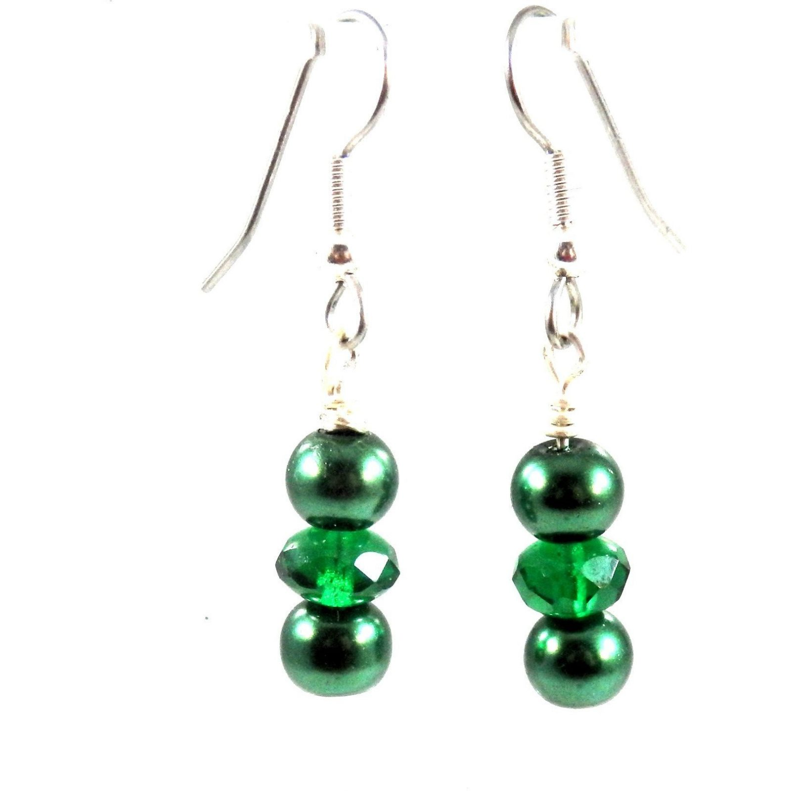 1 inch Green Glass Earrings 1717