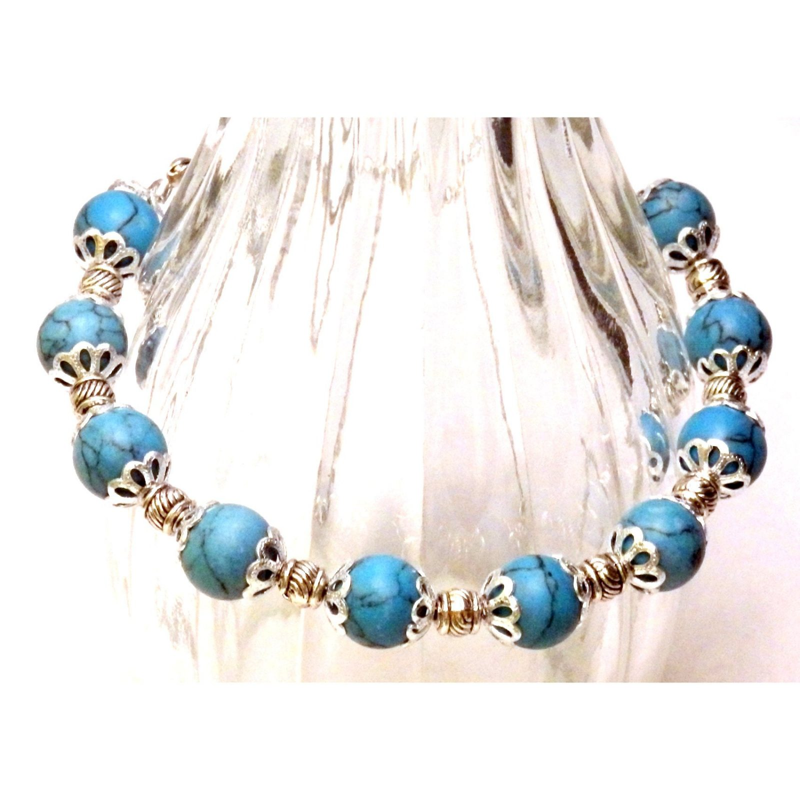 Faux Turquoise and Silvertone Accented Bracelet 837