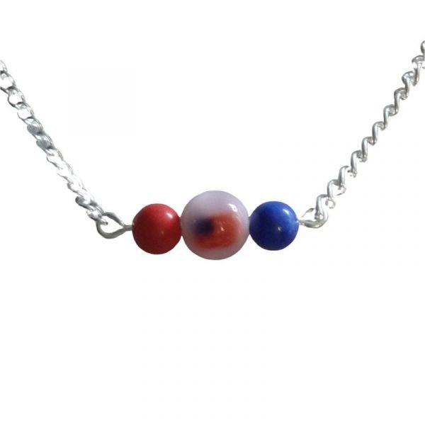 Red flag and blue bar necklace 1725-12