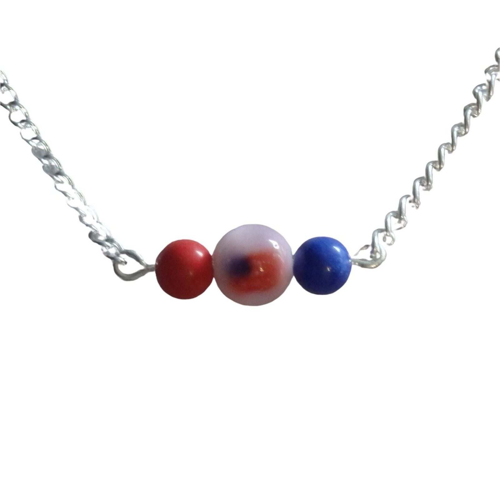 Red Flag and blue Bar Necklace 1725