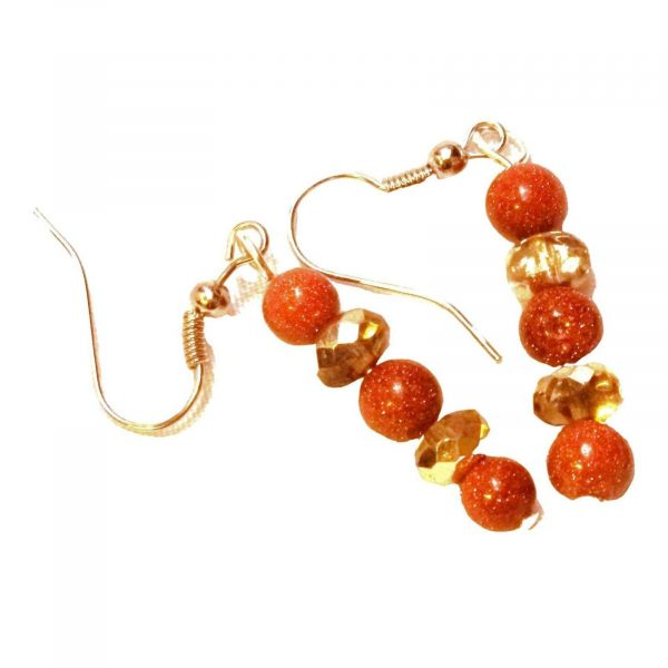 1.25 inch beaded brown goldstone and honey colored glass earrings 886