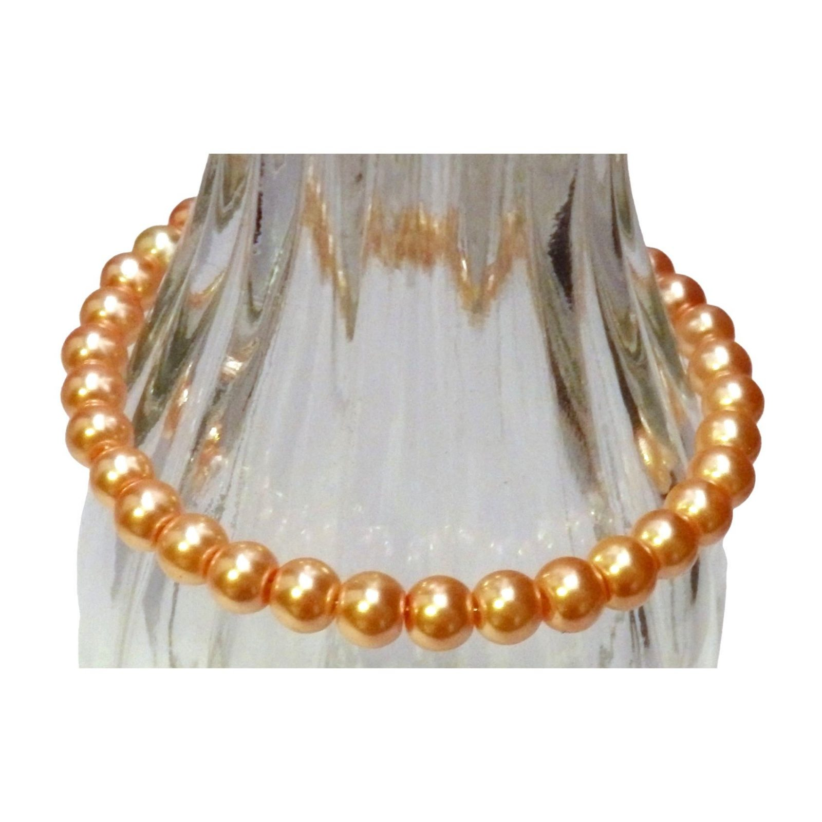 Creamy Earth Tones Peach Glass Beaded Bracelet 1320