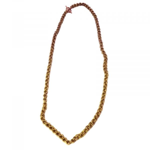 Antique Gold Twisted Wire Chain Mail Necklace 1264