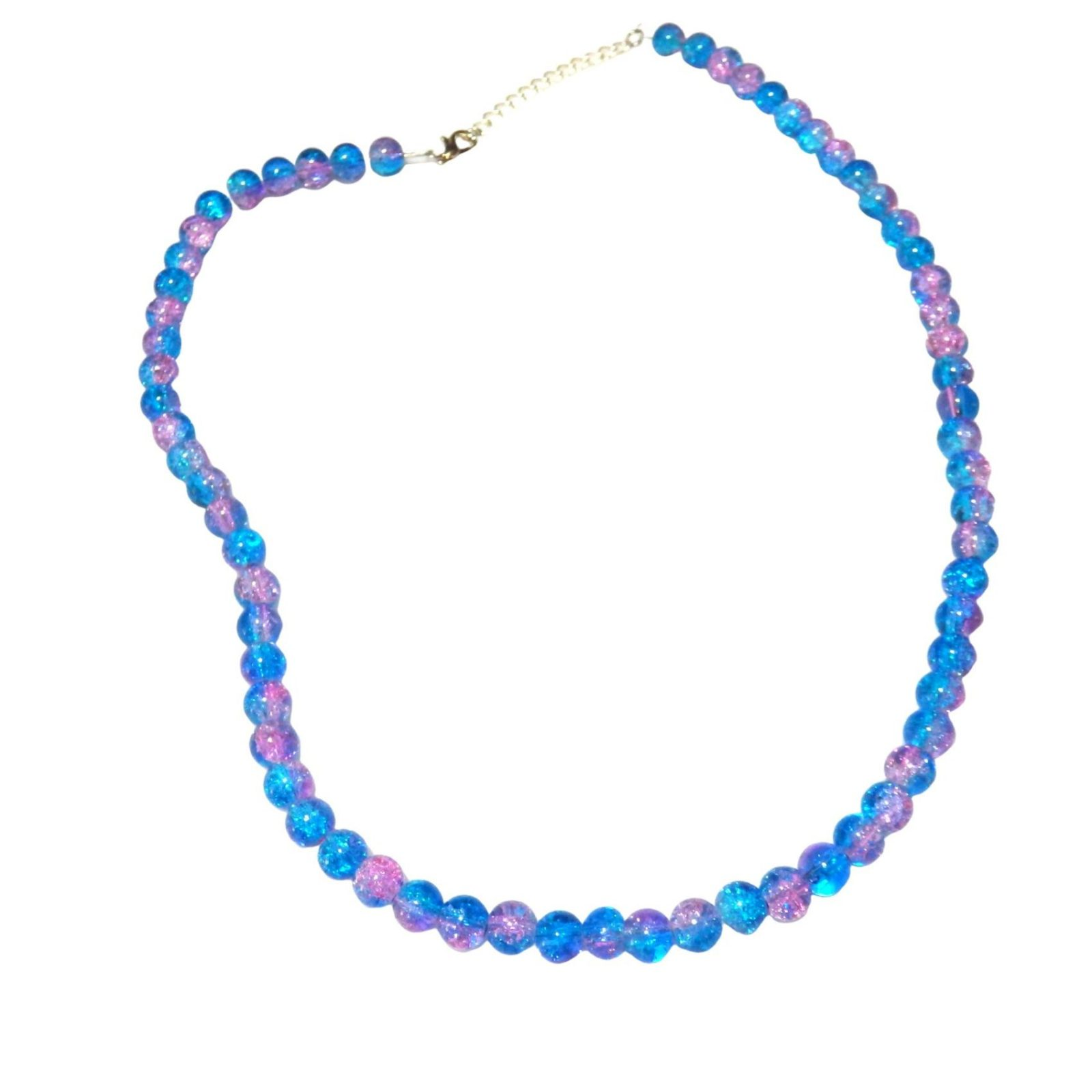Pink and Blue Crystalline Beaded Necklace  1546