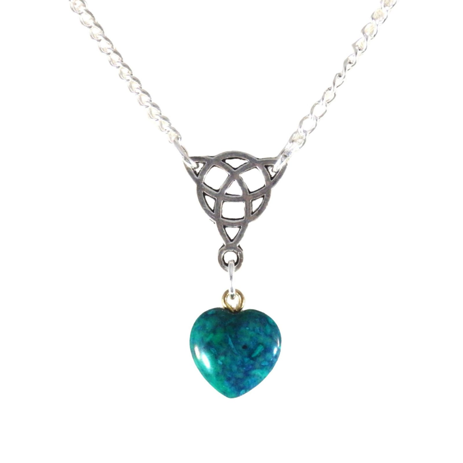 Triquetra and green heart necklace 1770