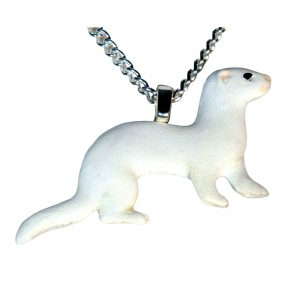 Dark eye white or DEW ferret necklace 734
