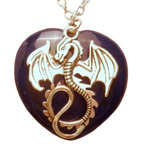 Dragon and dark blue heart stone necklace 453 Dk blue