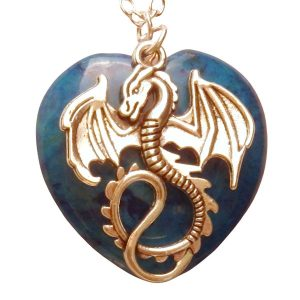 Dragon and light blue heart stone necklace 453 Lt blue