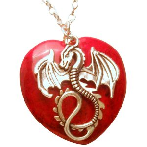 Dragon and red heart stone necklace 453 Red
