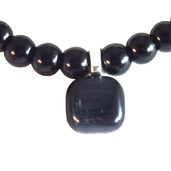 Black glass and catseye pendant beaded necklace 1804