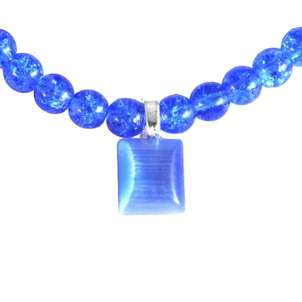 Blue crackle glass and catseye pendant 1818