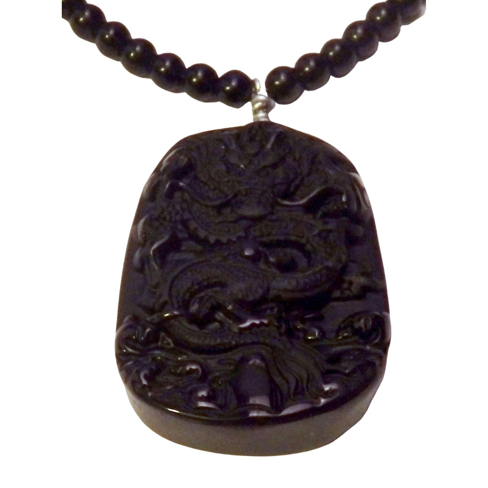 Carved obsidian dragon and obsidian necklace 1311