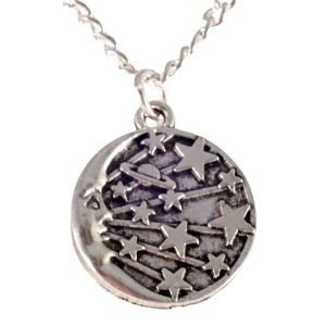 Crescent moon and shooting stars necklace 1462