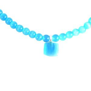 Light blue catseye glass and pendant 1812