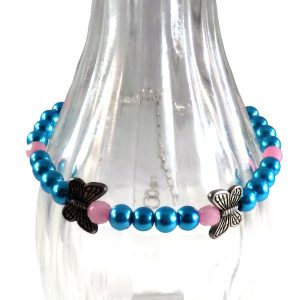 PINK AND BLUE BEADED BUTTERFLY CHARM BRACELET 349