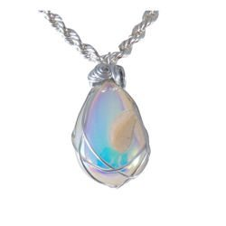 White druzy quartz wire wrapped necklace 1659