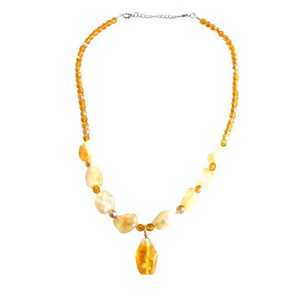 Gold tone crackle agate nuggets necklace 1985