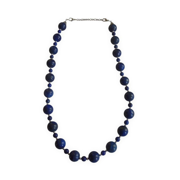 Lapis lazuli and blue howlite beaded necklace 1886