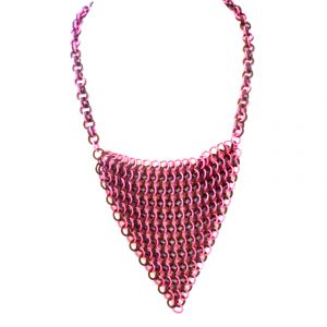 Pink and black chain mail necklace and triangle pendant 1450