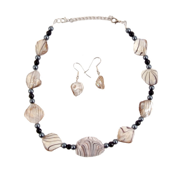 Zebra Stone and shell choker necklace and earrings 1984
